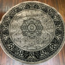 STUNNIG 150X150CM CIRCLE RUGS WOVEN BACK HAND CARVED GREY NEW RANGES RUGS-MATS